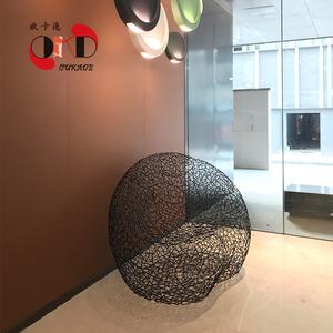 欧卡德商业美化空间不锈钢美陈休闲装饰椅各类金属玻璃钢摆件定制