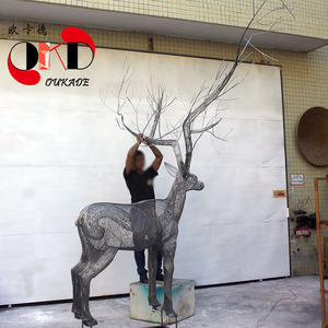 不锈钢304麋鹿雕塑摆件