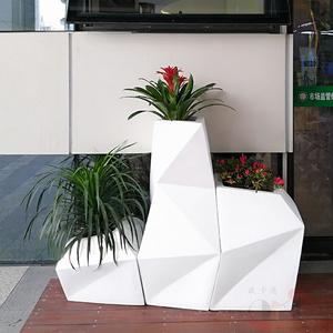 北欧风格简约菱形花盆 组合落地式 玻璃钢休闲插花花盆