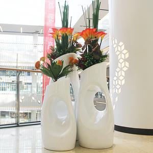 简约现代玻璃钢休闲花盆酒店会所创意树洞花盆户外绿植花盆花器